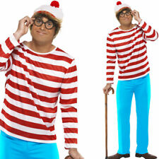 Mens Wheres Wally Fancy Dress 80s Costume Glasses + Hat