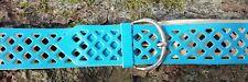 """Vintage Turquoise Leather Diamond Hole Waist/Hip Belt Adjustable 32"""" RetroStyle"""