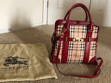 Burberry Haymarket Check Minford' Satchel Handbag Tote Plaid Bag Red Mint Condi.