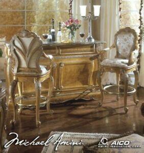 AICO by Michael Amini Trevi bar with 2 bar stools