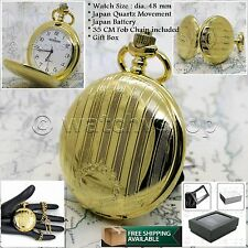Gold Antique Quartz Pocket Watch Men Gift 48 MM Arabic Numbers Fob Chain Box 109