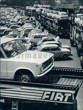 Vintage Fiat 131 Mirafiori Autos at Shipping Yard Turin Press Photo