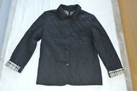 Burberry Black Diamond Quilted Popper Nova Check Jacket Coat Womens Large 10 12