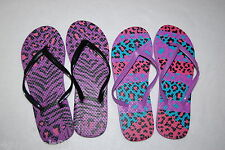 Womens Two Lot Animal Print Flip Flops Purple Zebra Leopard Aqua Pink S 5-6