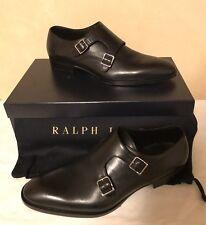 """Ralph Lauren Mens """"Gavrie"""" Calf Monk-Straps Black Shoes Leather Italy Sz 10D NIB"""