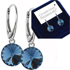 925 Sterling Silver Dangle Earrings *Denim Blue* 12mm Crystals From Swarovski®