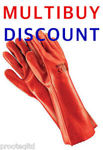 """PVC Long Gauntlets Work Gloves 16""""Drain Cleaning Chemical Safety 1 to 24 Pairs"""