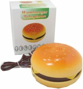 Wired Phone,Hamburger Telephone Fixed Corded,Desktop Phone for Home Decoration