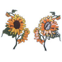 Sunflower Patch Still Life Painting Flower DIY Iron on Applique Sewing Suppl zq