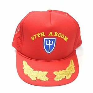97th Infantry Division Arcom Trident Vintage Red Trucker Hat Militaria WWI WWII