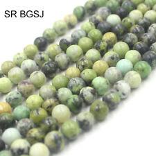 "Natural 8mm Round Serpentine Seed Gemstone Jewelry Making Beads Strand 15"""