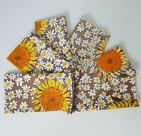Vintage Square Sunflower Napkins Brown Yellow White Lot Set 6