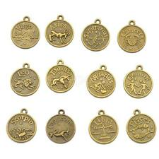 12 Antique Bronze Horoscope Zodiac Round Pendant Charm for Jewelry Making