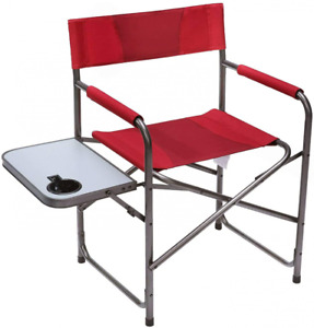Portal Compact Steel Frame Folding Director's Chair Portable Camping Red