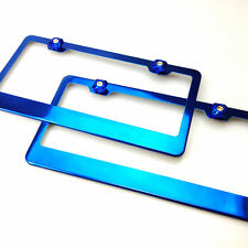 2x Powder Coated Candy Blue License Plate Frame w/Screw Cap Stainless Steel Pair