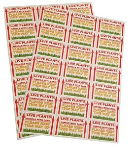 """42 > 336 """"LIVE PLANTS, HANDLE WITH CARE"""" Postage Packet Labels 70mm x 40mm"""