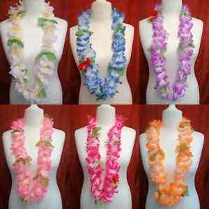 Hawaiian Garland Lei Flowers Necklace Blue Pink White Purple Orange Beach Party