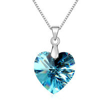 New Swarovski Element Crystal Blue Heart Silver Chain Necklace Pendant Jewellery