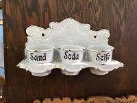 Vintage Set of 3 Blue & White Chickenwire Enamelware, Sand-Soda-Soap With Hanger