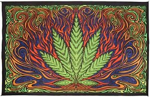 3D Hot Leaf Tapestry Bohemian Marijuana Wall Hanging Cotton Pot Art 60x90 Inches