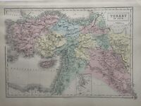 1854 Turkey In Asia Ottoman Empire Hand Coloured Antique Map by George Aikman