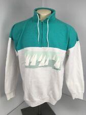 VTG 80s Teal White Colorblock Victoria Canada Souvenir Vacation Pullover Jacket