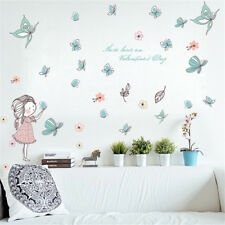 Girl Butterfly Flying Room Home Decor Removable Wall Stickers Decals Decoration