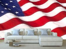 WAVING AMERICAN FLAG 3D Mural Photo Wallpaper Decor Large Paper Wall