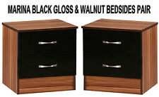 Black Gloss & Walnut Set of 2 Bedside Cabinets Side Lamp Tables Modern Units