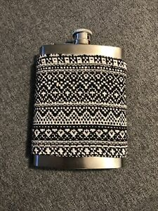 Stainless Steel Flask 8oz With Fabric Cover Blue And White