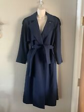 Women's Vintage Saville Wool Trench Coat, Navy Blue, Petite Medium