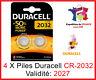 4 Piles CR-2032 DURACELL bouton Lithium 3V DLC 2027