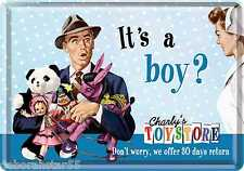 New Baby Card IT'S A BOY Congratulations Vintage Retro Tin Metal POSTCARD Sign