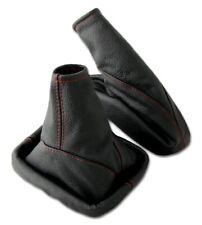 Schaltsack + Handbremsmanschette OPEL ASTRA G 100% ECHT LEDER schwarz Naht rot