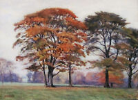 WALTER JAMES WEST - EARLY FALL - ORIGINAL WATERCOLOR - 1912 - FREE SHIP IN US !!