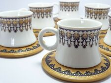 Arabic Turkish Coffee Cup 6 Porcelain coffee cups Set With 6 Wooden Platters