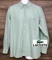 Lacoste Mens Green Striped Long Sleeve Button Front Modern Casual Shirt (45) XXL