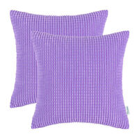 "2Pcs Lavender Throw Pillows Covers Corn Soft Corduroy Striped Sofa Decor 18x18"""