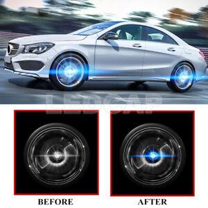 4X Floating LED Illuminated Hub Light Wheel Caps Light For Mercedes Benz 75mm
