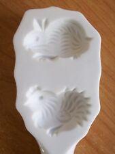 Schmid Design Folio Butter Mold Rabbit Chick White Porcelain Vintage NIB Easter