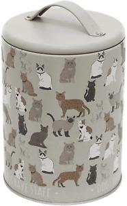 Small Cat Treat Food Storage Tin Jar with Lid
