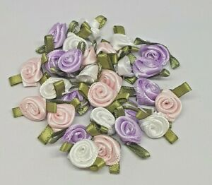 10 SMALL SATIN RIBBON ROSEBUDS FLOWERS roses Pink White Lilac sewing knitting