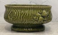 Vintage Pottery Mushroom Planter/ Vase Dark Green  Retro Mushroom Footed
