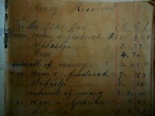 1881 ANTIQUE HANDWRITTEN ledger Nebraska Farmer ? Iceland & US 1 & 2 cent stamps