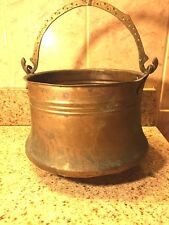 "VTG Antique Copper Kettle with Brass Handle 9 1/4""W Base X 5 1/4""H Turkey"