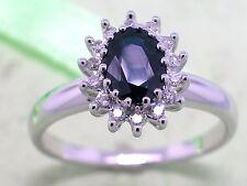 Saphir Ring 585 Weißgold 14Kt Gold natürlicher Saphir  14 Diamanten