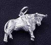 COOL 3D Solid Sterling Silver .925 Bull Pendant charm Rodeo