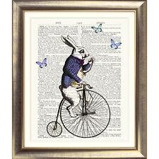 ART PRINT ORIGINAL ANTIQUE BOOK PAGE DICTIONARY Alice in Wonderland Rabbit Bike