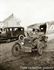 Antique Cars in Wreck / Accident / Crash - circa 1920 - Historic Photo Print
