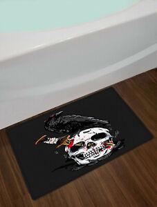 Cool Skull Dagger Halloween Black Crow Door Bath Mat Kitchen Floor Rug Carpet